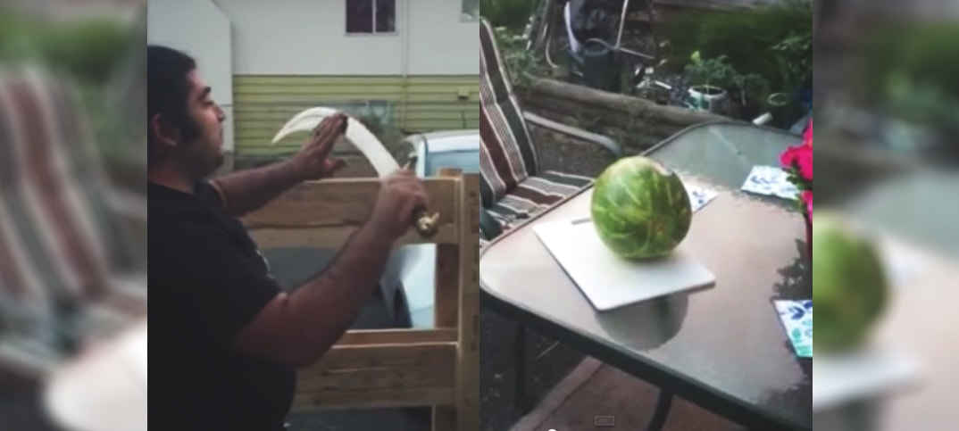 cutting watermelon
