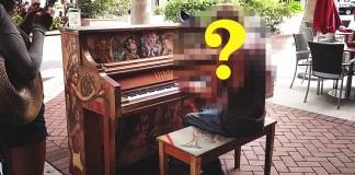 Homeless man playing piano