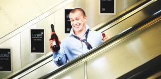 drunk friend on escalator