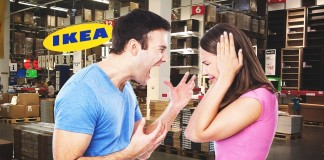 couples fighting inside Ikea