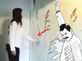 woman opening space saving room