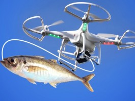 drone with a fish